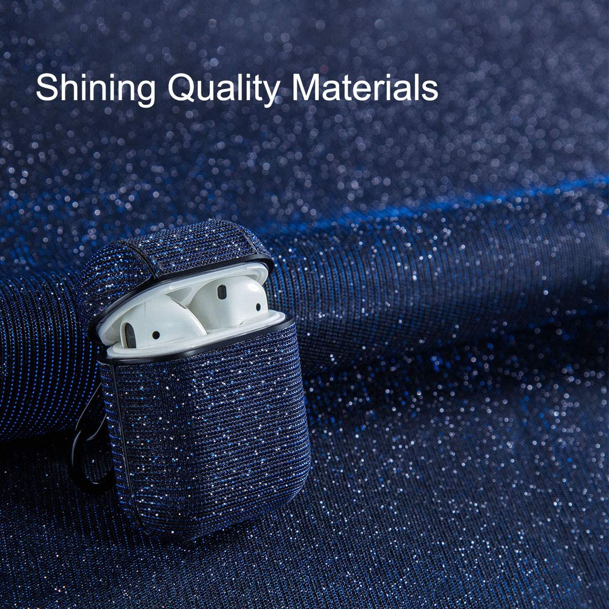 AirPods Case,Libra Gemini Compatible for AirPods Case Cover Bling Glitter Leather Fabric Protective Cover and Keychain for AirPods Charging Case2 /& 1 Silver
