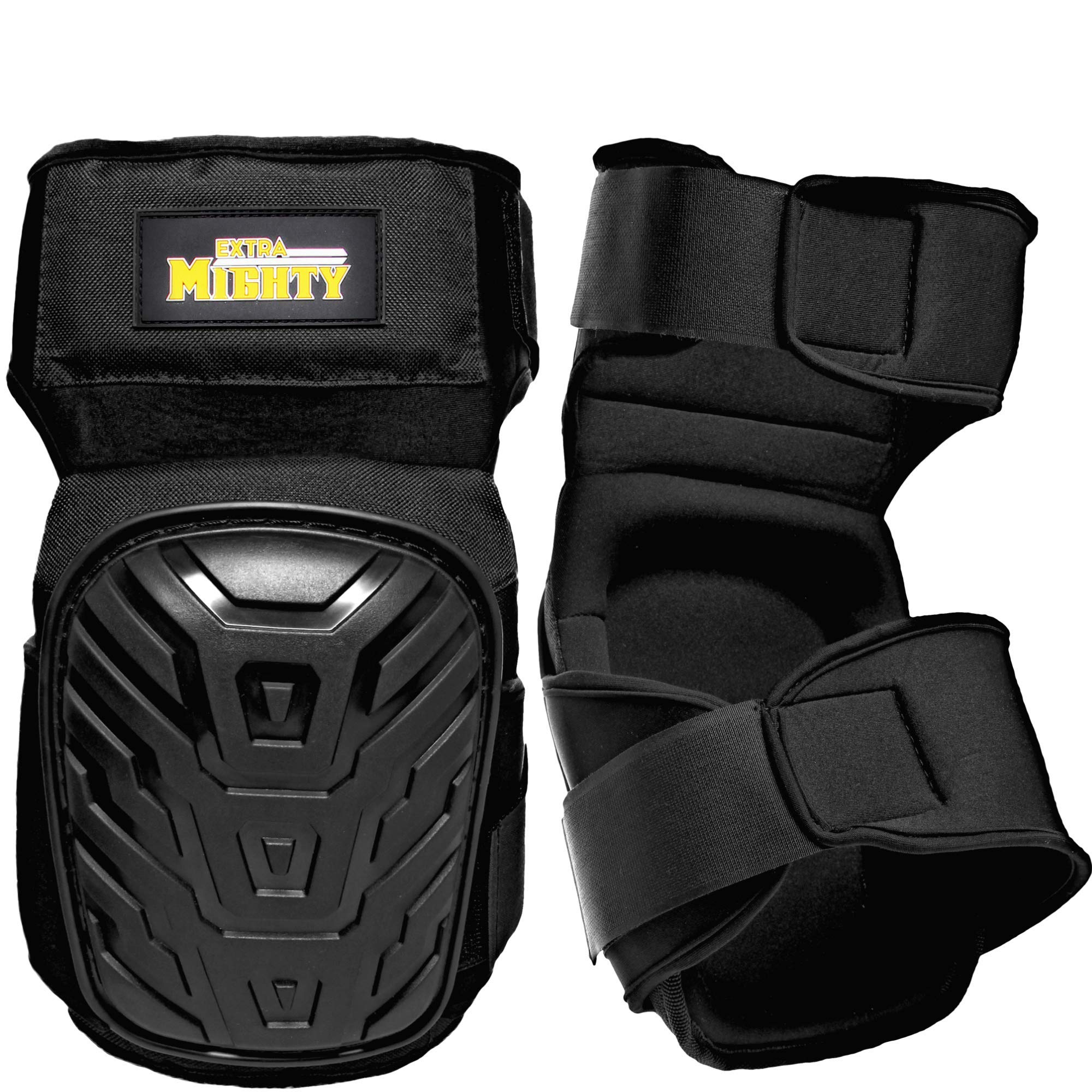 ExtraMighty Professional Knee Pads - Heavy Duty Foam Padding and Comfortable Gel Cushion - Non Slip Adjustable Double Straps Without Clips That Snap Off by Extra Mighty