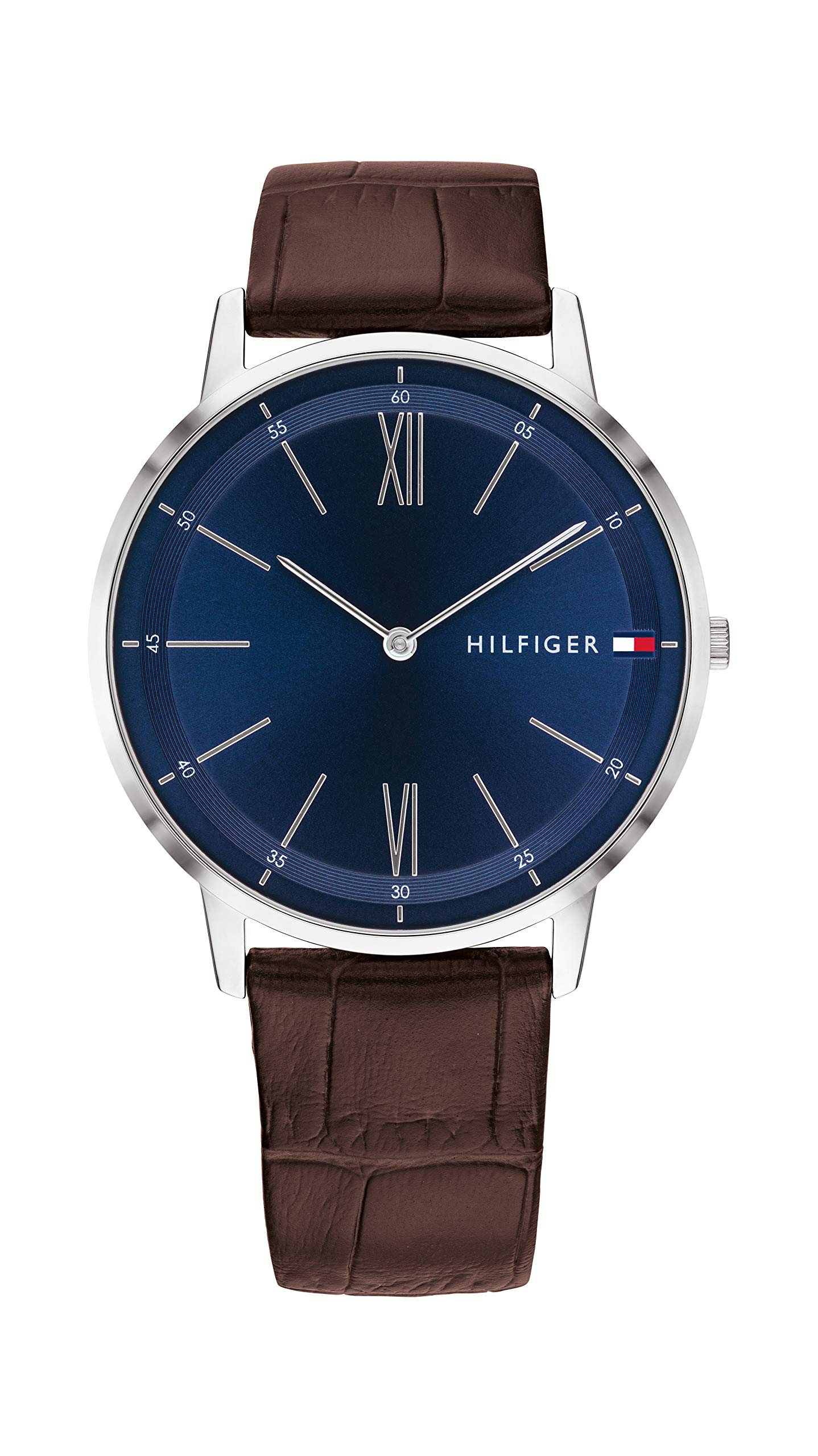 Tommy Hilfiger Men's Stainless Steel Quartz Watch with Leather Strap, Brown, 20 (Model: 1791514)