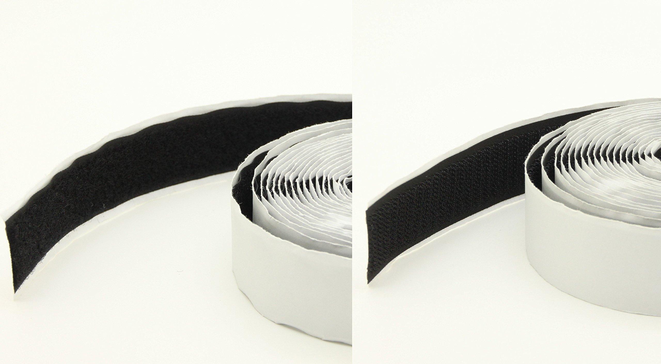 FixtureDisplays Set of 2 Pcs 15 Feet 1'' Black Self Adhesive Hook & Loop Tape Fastener101731 101731!