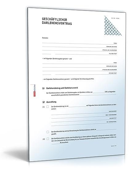 Geschäftlicher Darlehensvertrag Pdf Download Amazonde Software