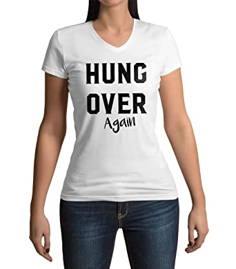 Funny Hungover Again Tumblr Slogan Printed Novelty Damen V Neck T