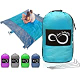 Sand Free Compact Outdoor Beach / Picnic Blanket- Huge-9' x 10' For 7 Adults- Best Mat For Festivals & Hiking-Very Soft & Quick Drying Ripstop Nylon- 5 Weightable Pockets + 4 Anchor Loops & Stakes
