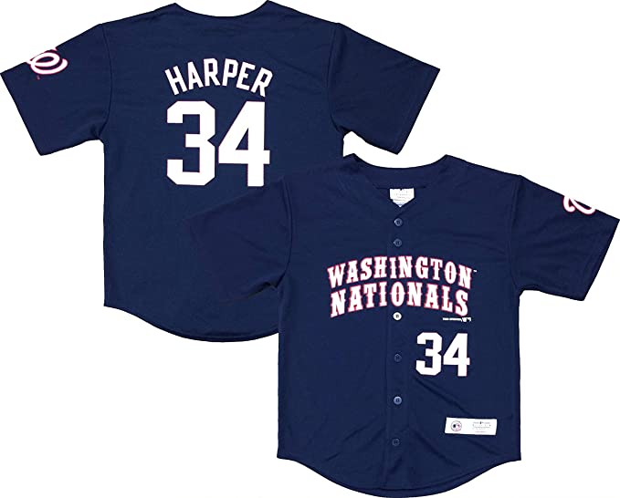 the best attitude f2e38 150e1 Amazon.com: Bryce Harper Washington Nationals #34 Navy Blue ...