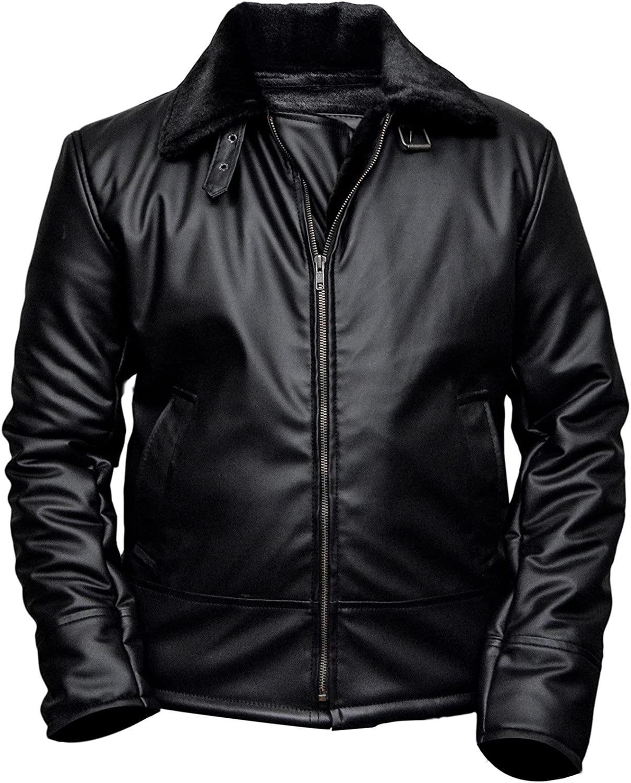 XXS 3XL FaddyRox B4 Ginger Shearling Black Faux Leather Jacket