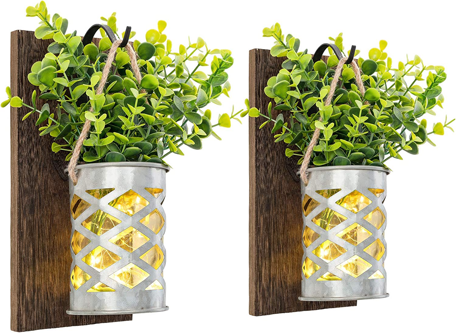 Mkono Mason Jar Sconces Wall Decor Set of 2 Fairy Lights Wall Hanging Sconces Rustic with Galvanized Vase and Artificial Eucalyptus Farmhouse Sconce Fall Wall Decor for Bedroom Living Room Kitchen
