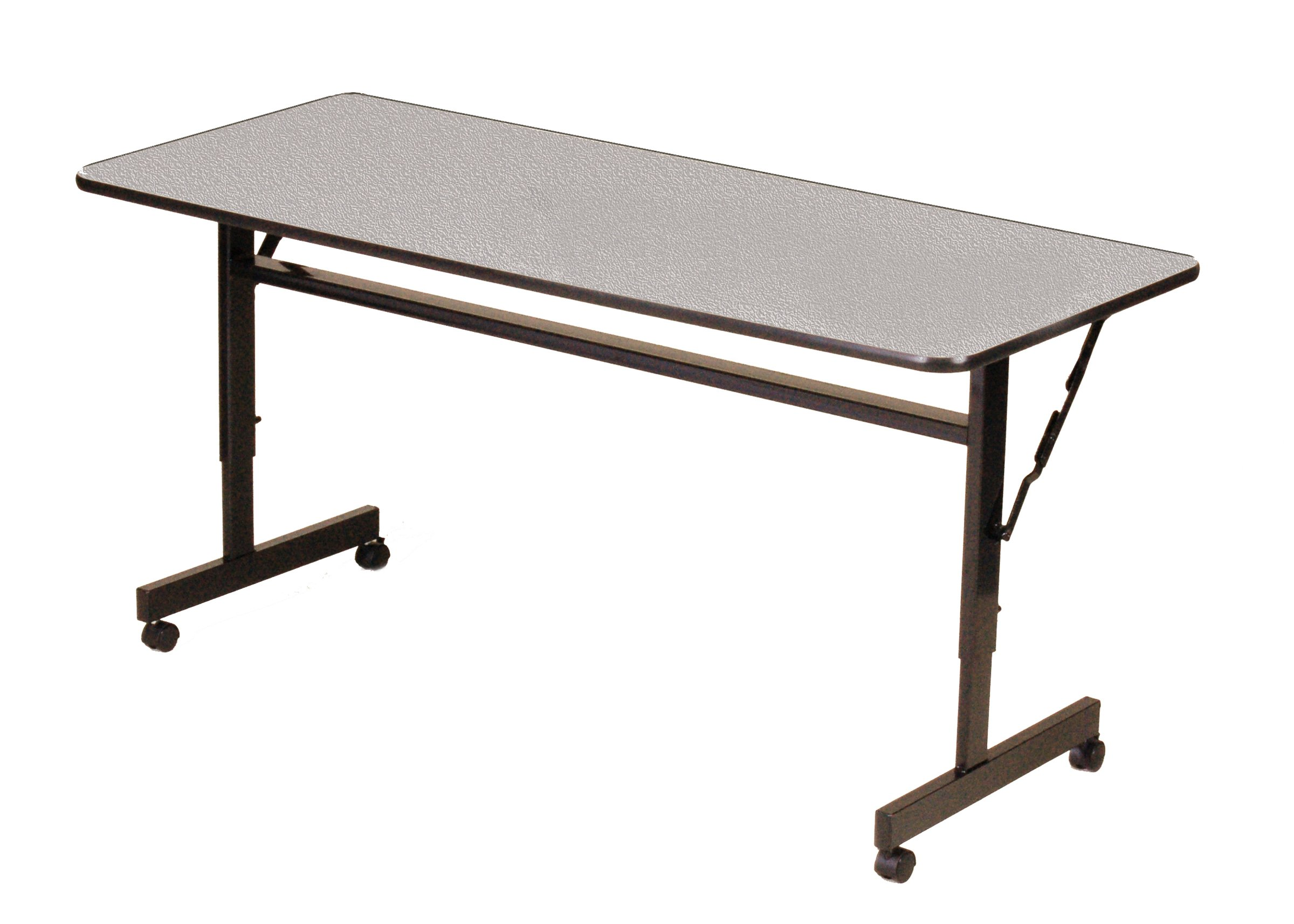 Correll 24''x72'', EconoLine Flip Top Table, Gray Granite Melamine Top, Adjustable Height Work Station, Castors, Folds Flat & Nests (FT2472M-15) by Correll