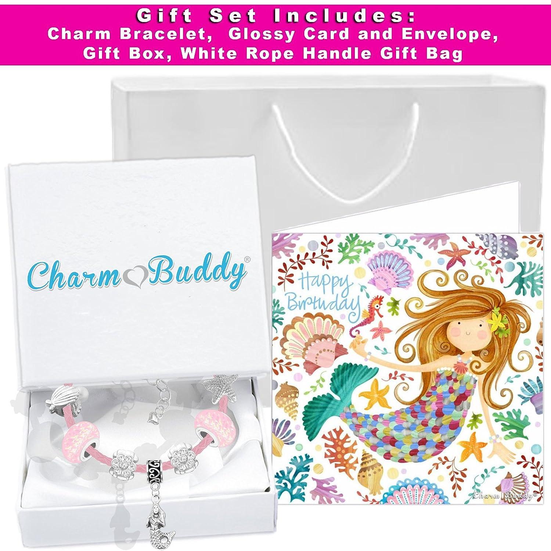 aus Leder f/ür M/ädchen mit Geburtstagskarte und Geschenkbox Rosa Meerjungfrau-Bettelarmband