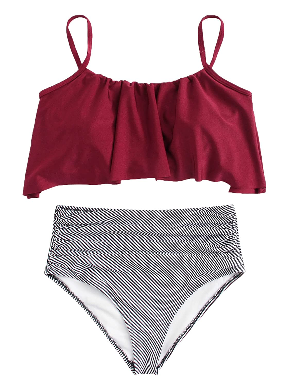 SOLY HUX Women's Strappy Flounce Bikini Striped High Waisted Swimsuit Burgundy XL