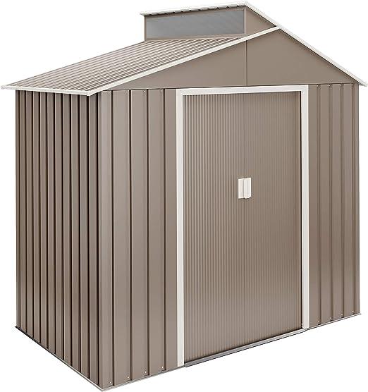 Hoggar by Okoru Cobertizo Premium Metal para Almacenamiento 2, 84m2-220x129x214cm. Casta Jardin terraza: Amazon.es: Jardín