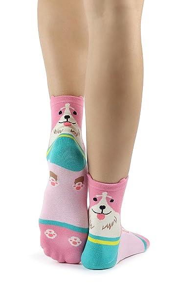 Mixmi Boutique Calcetines Happy Dog para mujeres con orejas levantadas en 5 diseños (Rosa Número