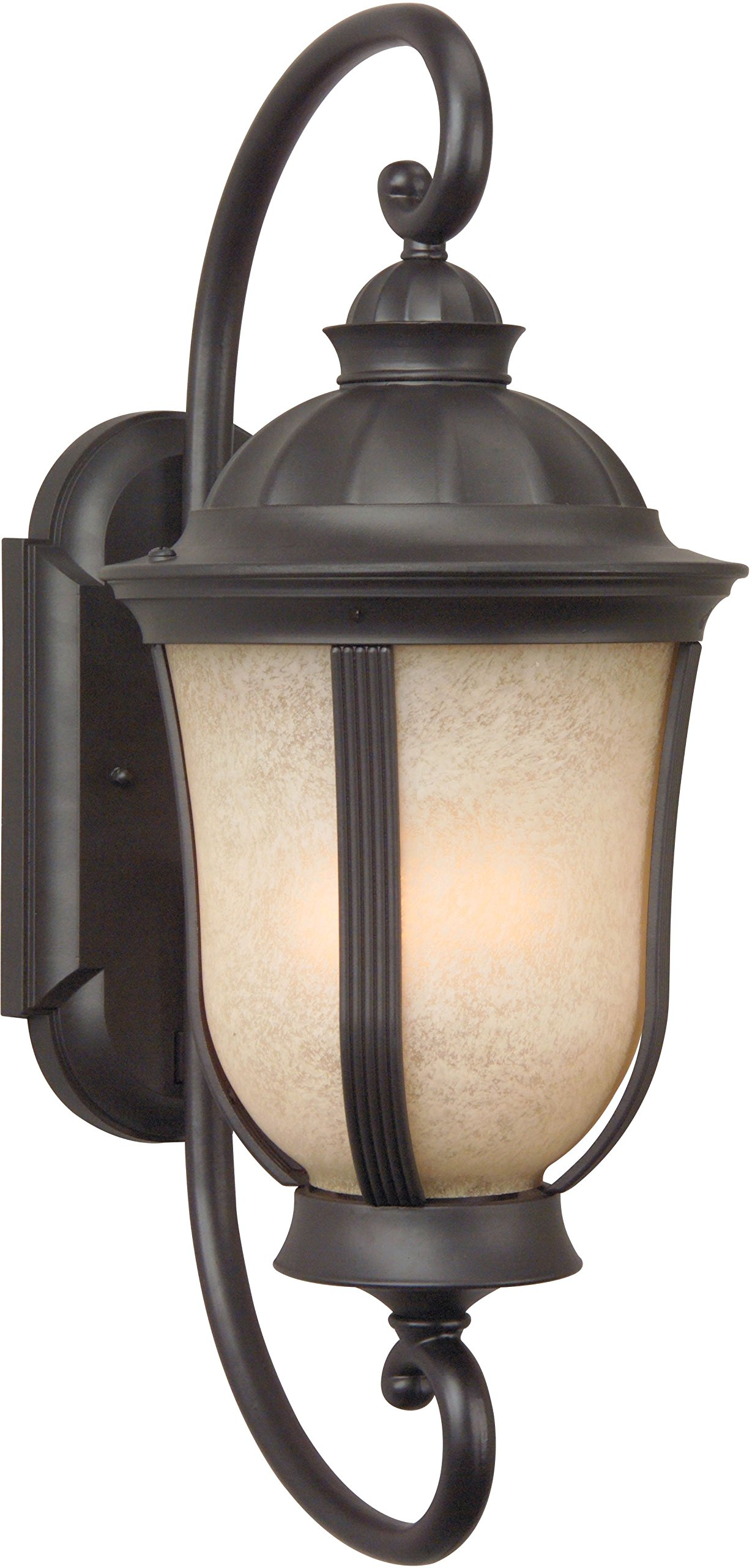 Craftmade Z6120-92-NRG Wall Lantern with Amber Frosted Glass Shades, Bronze Finish