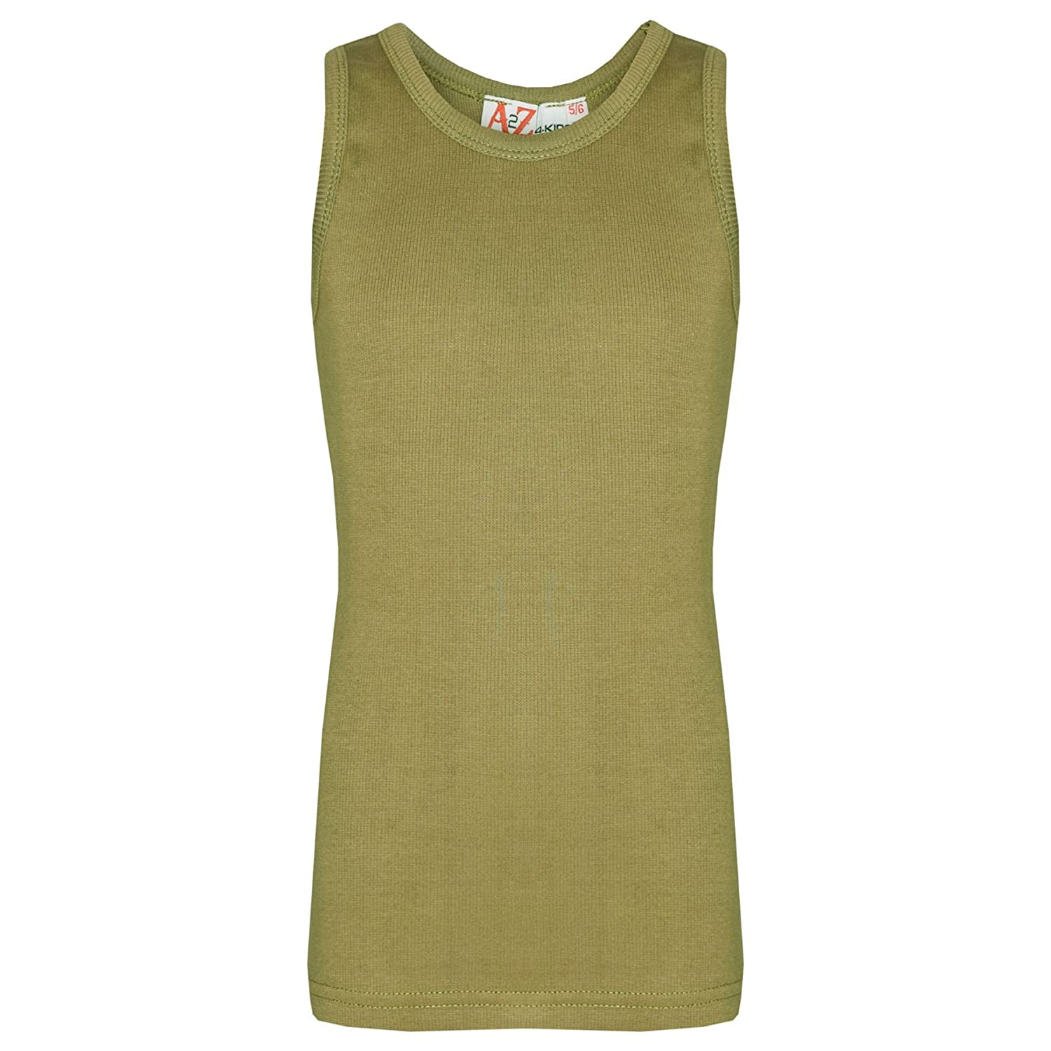 A2Z 4 Kids® Kids Girls Ribbed Vest Top Designer's 100% Thick Cotton Fashion Tank Tops T Shirts New Age 2 3 4 5 6 7 8 9 10 11 12 13 Years