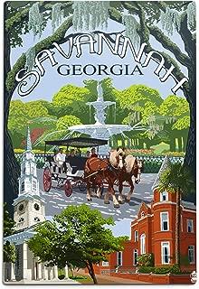 product image for Lantern Press Savannah, Georgia, Town Views (12x18 Aluminum Wall Sign, Wall Decor Ready to Hang)