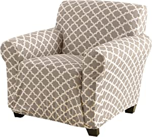 Printed Twill Arm Chair Slipcover. One Piece Stretch Chair Cover. Strapless Arm Chair Cover for Living Room. Fallon Collection Slipcover. (Chair, Beige)