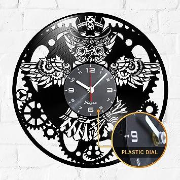 Steampunk Reloj de pared, diseño de búho de vinilo, diseño de búho steampunk con