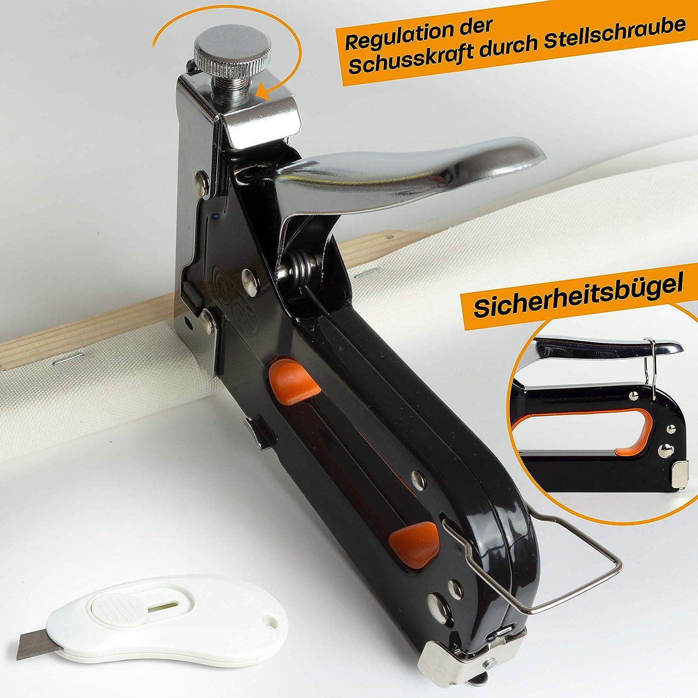 Tacker Handwerker zum Fixieren Handtacker Holz mit Klammern N/ägeln Gratis Cuttermesser Hinrichs Handtacker im Koffer