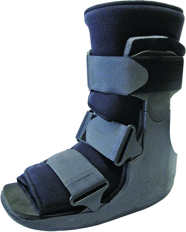 médico Fractura roto Tobillo bota apoyo. Fractura de tobillo, bota ortopédica, esguince, bota de walker, Aquiles, yeso blanco, inmovilización, postoperatorio, ruptura metatarsiana