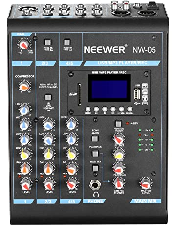 Neewer Estéreo Mezclador 5 Canales Compacto Mini Consola de Mezcla Echo DSP Effectos,Pantalla LCD