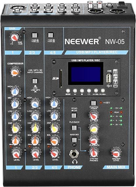Neewer Estéreo Mezclador 5 Canales Compacto Mini Consola de Mezcla ...