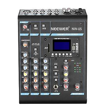 Neewer Estéreo Mezclador 5 Canales Compacto Mini Consola de Mezcla Echo DSP Effectos,Pantalla LCD,Tarjeta SD Incorporada,USB,Bluetooth,48V Phantom ...