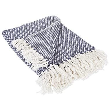 DII 100% Cotton Basket Weave Throw for Indoor/Outdoor Use Camping BBQ's Beaches Everyday Blanket, 50 x 60, Woven Nautical Blue