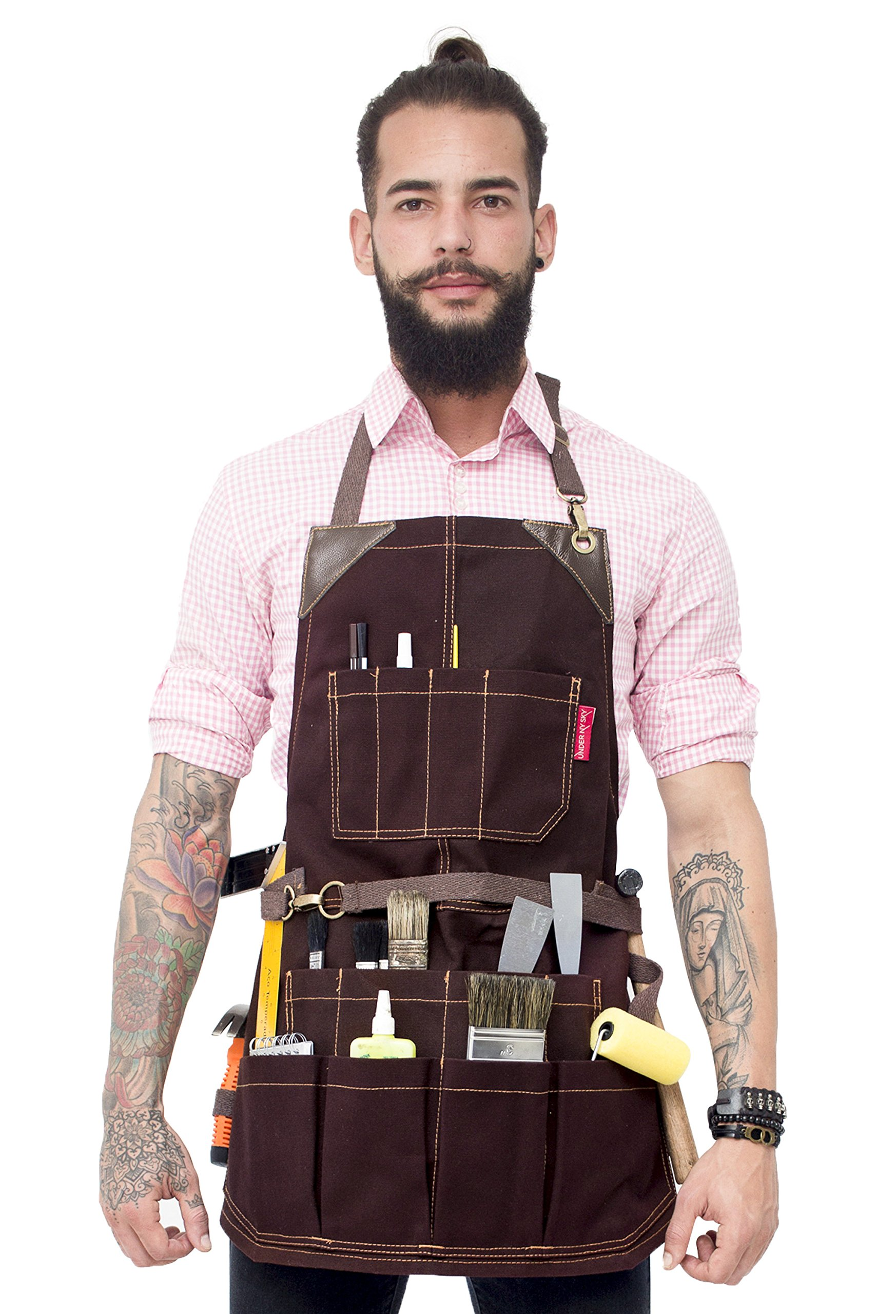 Under NY Sky Tool Brown Apron – Heavy-Duty Waxed Canvas, Leather Reinforcement, Extra Pockets – Adjustable for Men and Women – Pro Mechanic, Woodworker, Blacksmith, Plummer, Electrician, Welder Aprons