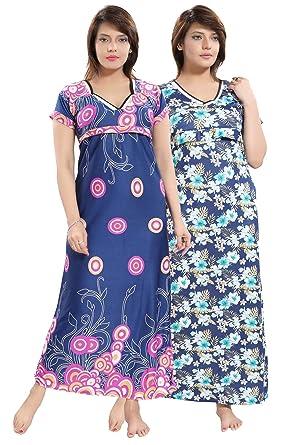 4c37b9d9d0c51 Lovira Blue-Pink Serena Satin Floral Women Nursing/Maternity Gowns - Free  Size -