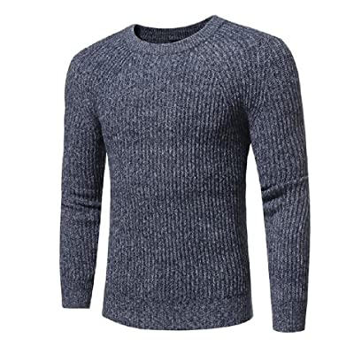 Abetteric Men's Long Sleeve Simple Trend Knitting Solid Pullover Sweaters