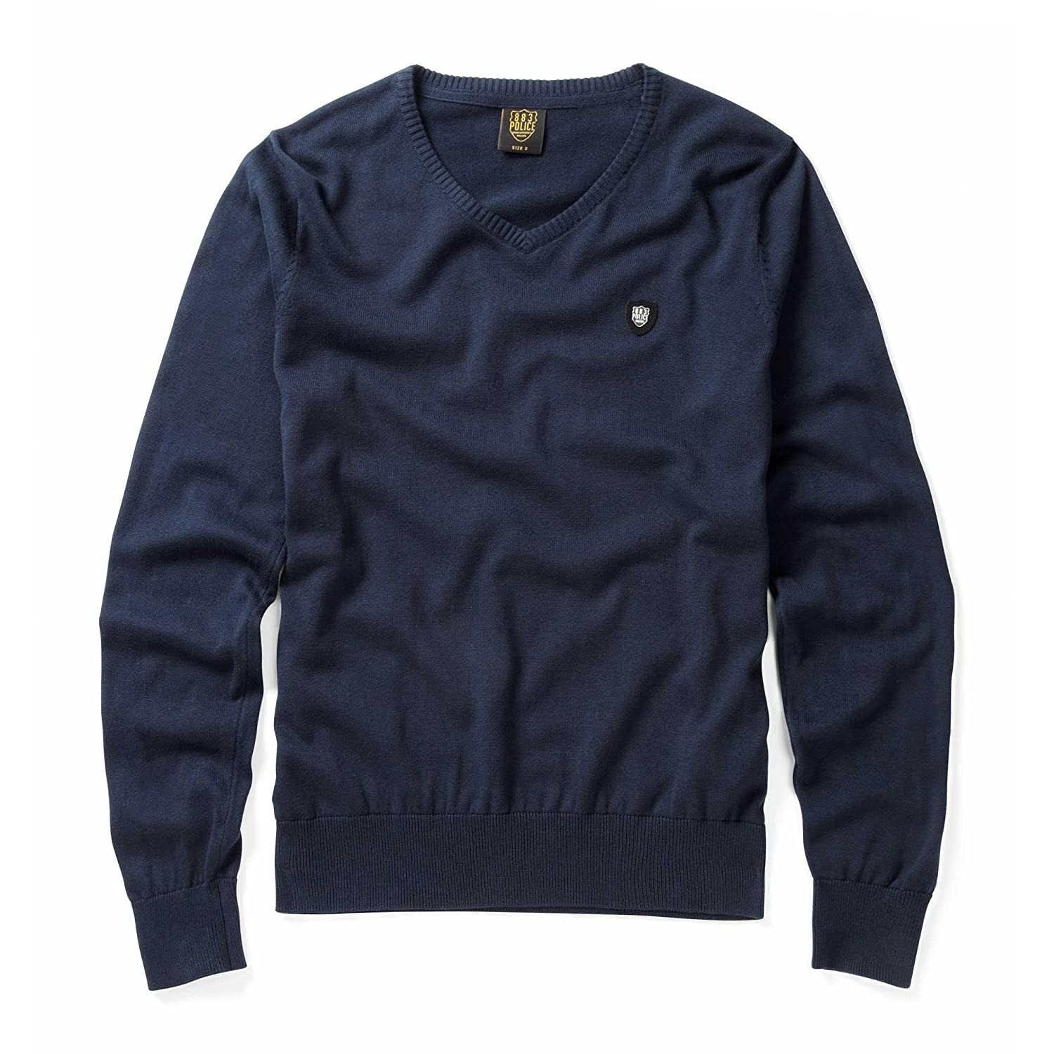 883 Police Mens Maccus Eclipse Navy Knitwear Top Sweater Long Sleeve Knit Jumper