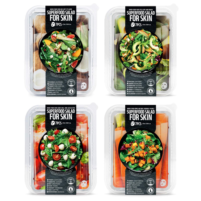 FARMSKIN Superfood Salad For Skin Beauty Facial Sheet Mask Salad Set of 4 (Pack of 28)