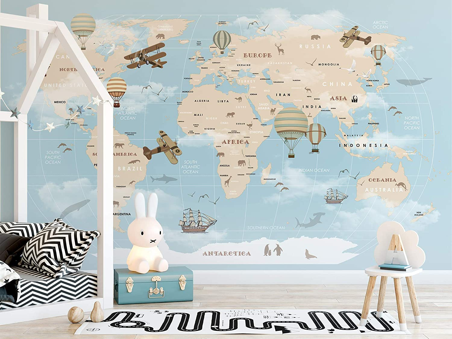 Amazon Com Murwall Kids Map Wallpaper For Child Beige World Map Wall Mural Vintage Map Wall Art Airplane And Hot Air Balloon Wall Print Children Rooms Handmade