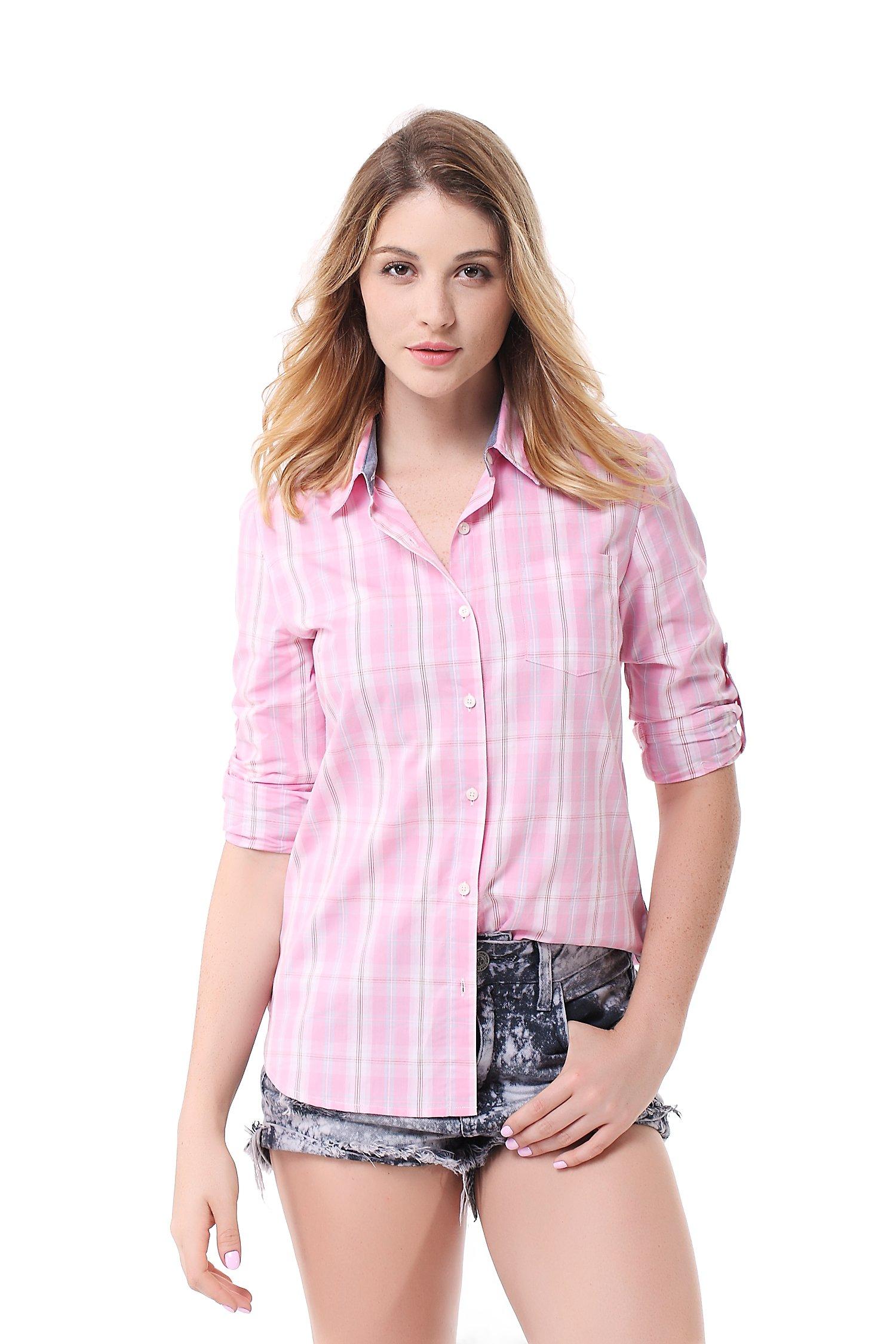 Pau1Hami1ton G-03 Women's Casual Plaid Long Sleeve Blouses Cotton Shirts Tops(S,14)