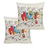 Cityhome - Meaningful English Writing Inspirational Quotes The Wisdom Of Cotton Linen Sofa Decorative Pllow Case Cushion Pillow. 45cm x 45cm Size. (2PC Music)