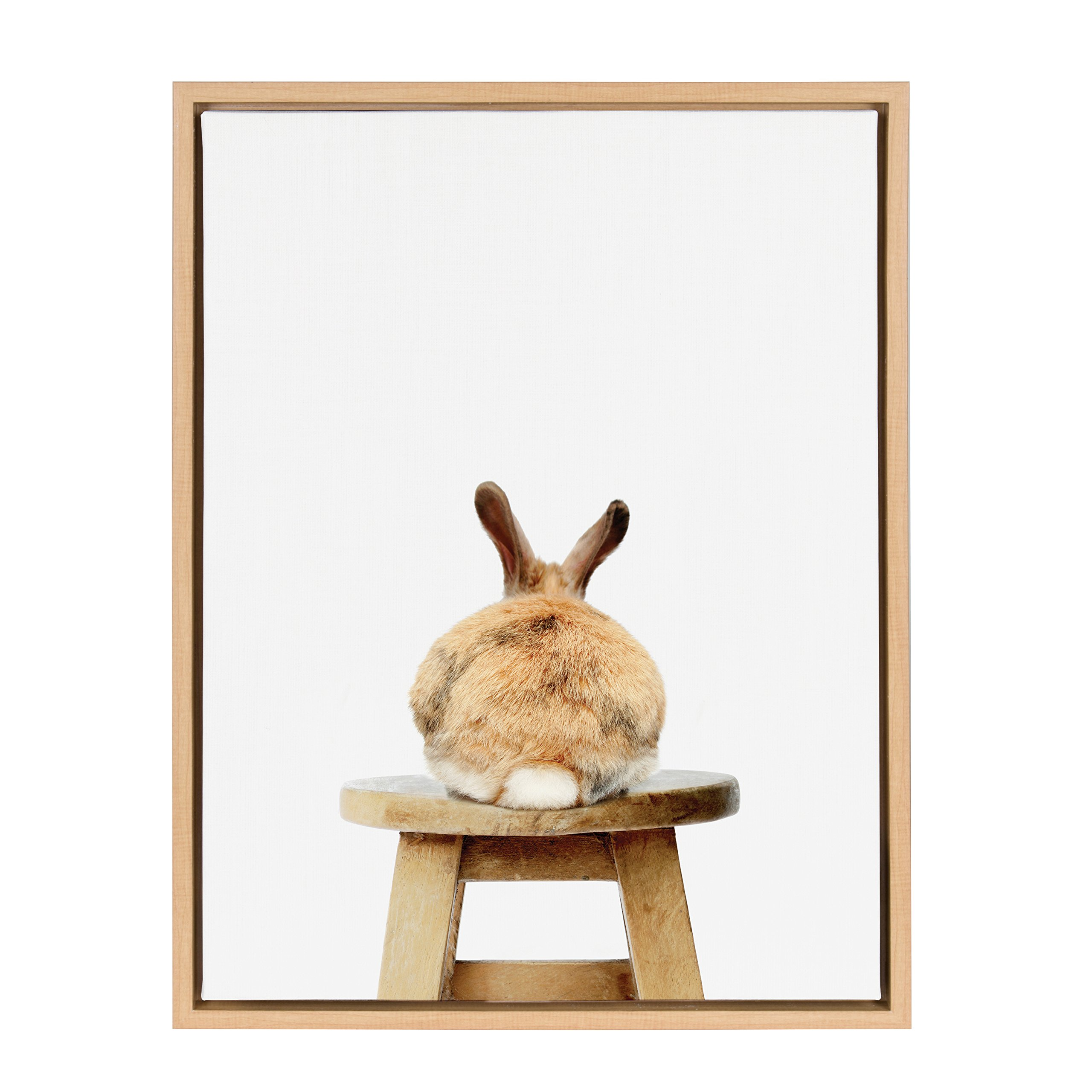 Kate and Laurel - Sylvie Bunny Rabbit Back Animal Print Portrait Framed Canvas Wall Art by Amy Peterson, Natural 18 x 24 by Kate and Laurel