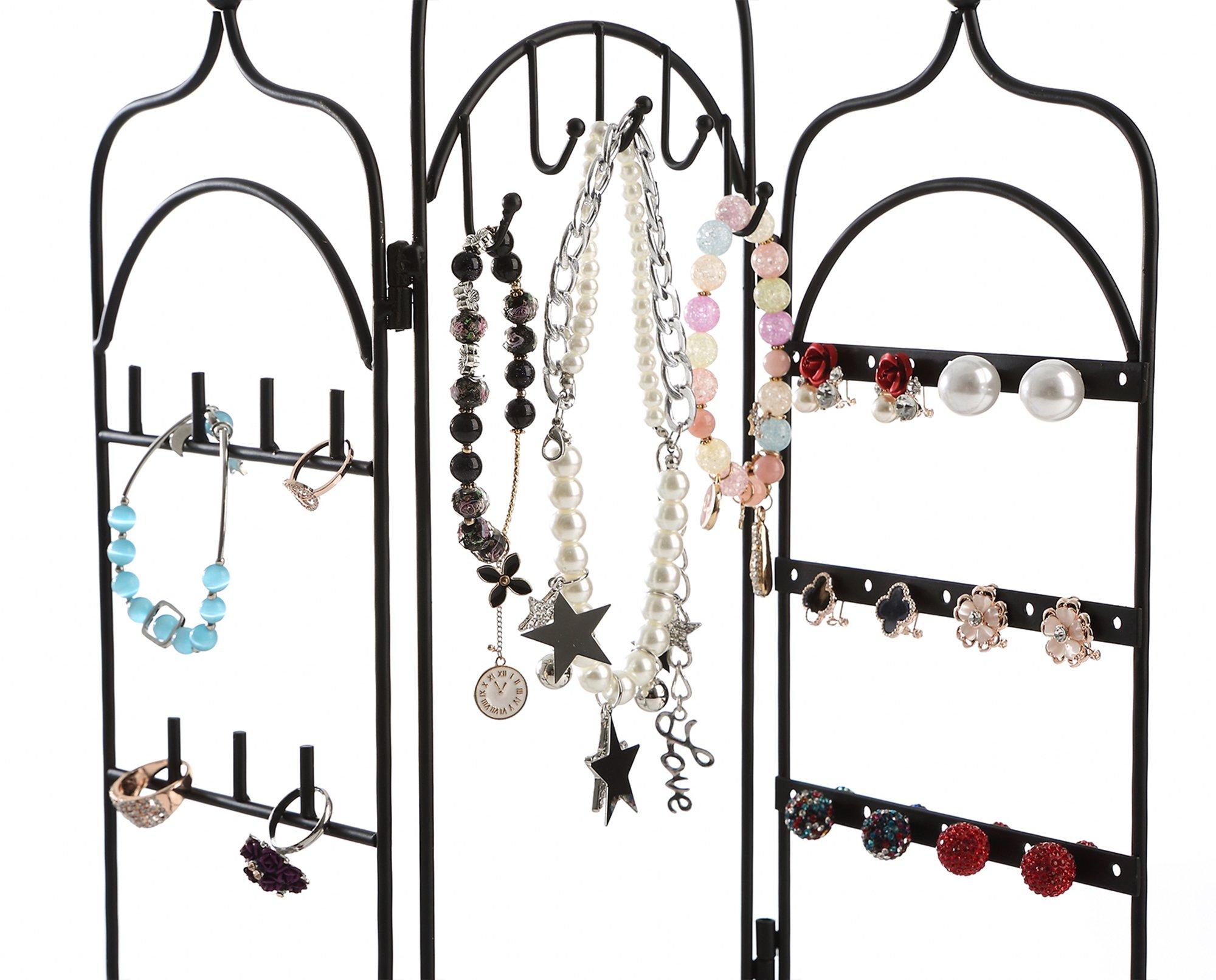 Modern Black Metal 3 Panel Trellis Folding Jewelry Hanger Organizer for Bracelet, Earrings, Necklace