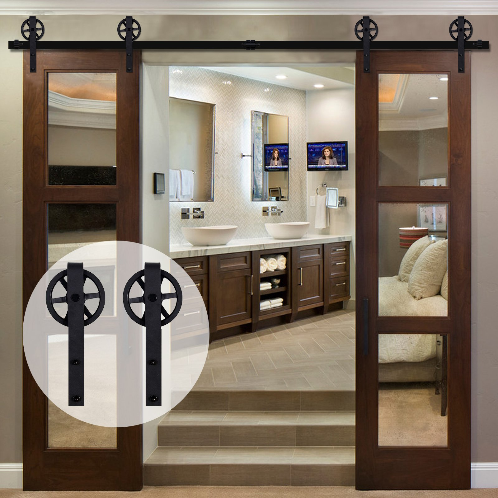 CCJH American Country Flat Style Steel Sliding Barn Door Hardware with Big Rollers for Double Door Black (14.5FT)