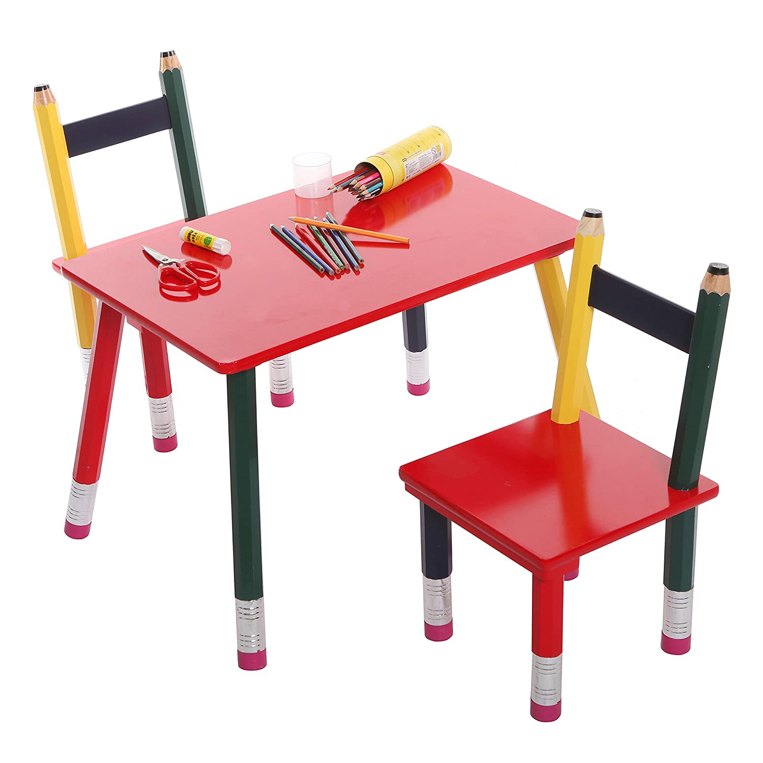 Amazon Children s Table & 2 Chair Pencil Design Set 3 Piece