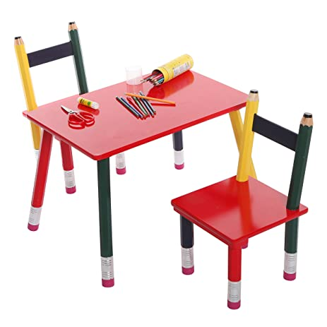 Children\u0027s Table \u0026 2 Chair Pencil Design Set 3 Piece Kid\u0027s Playroom Furniture Multicolored  sc 1 st  Amazon.com & Amazon.com: Children\u0027s Table \u0026 2 Chair Pencil Design Set 3 Piece ...