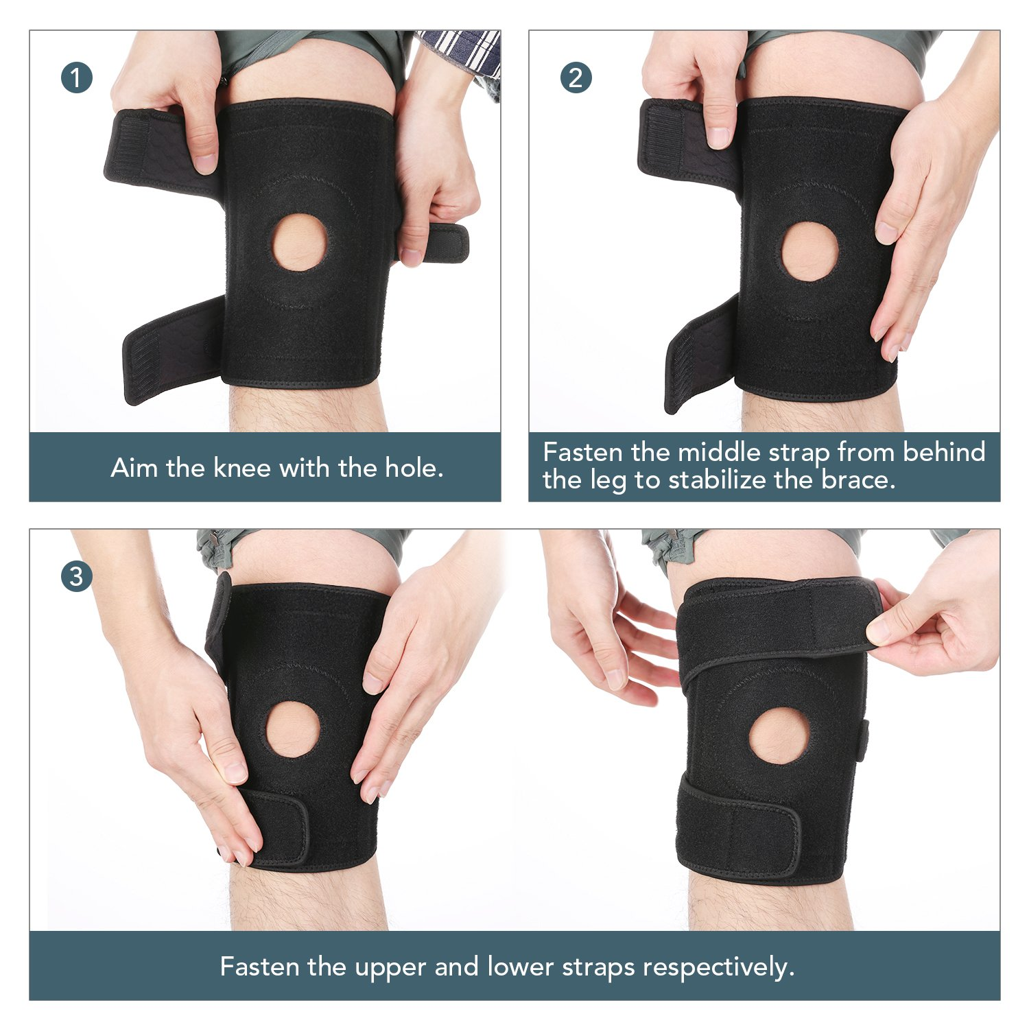Amazon.com: MARNUR Knee Brace with Kneecap Stabilizer and Adjustable  Strapping for Weightlifting, Weight-Bearing Exercise and Outdoors  Activities, ...