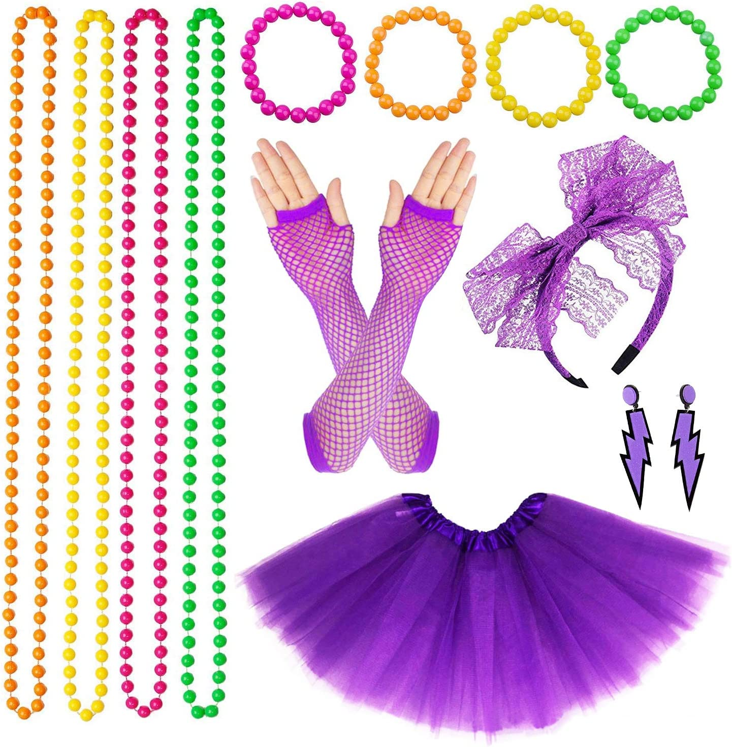 1980s Neon Costume Accessories Jewellery/with Earring Bracelets Bead Necklaces/Large Size Skirt Gloves set for Cool 80s Party Purple VSTON 80 s Fancy Dress For Women Adult