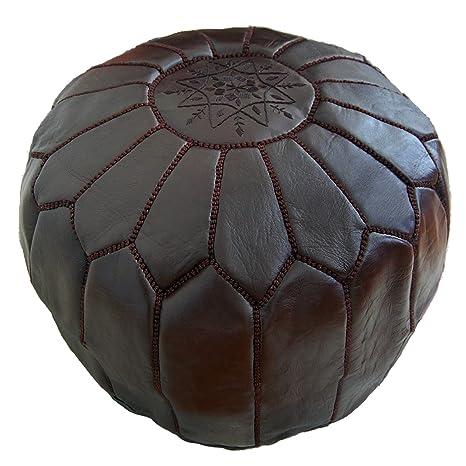ALMADIH Pouffe Marrón otomano bordado Cojín de cuero genuino ...