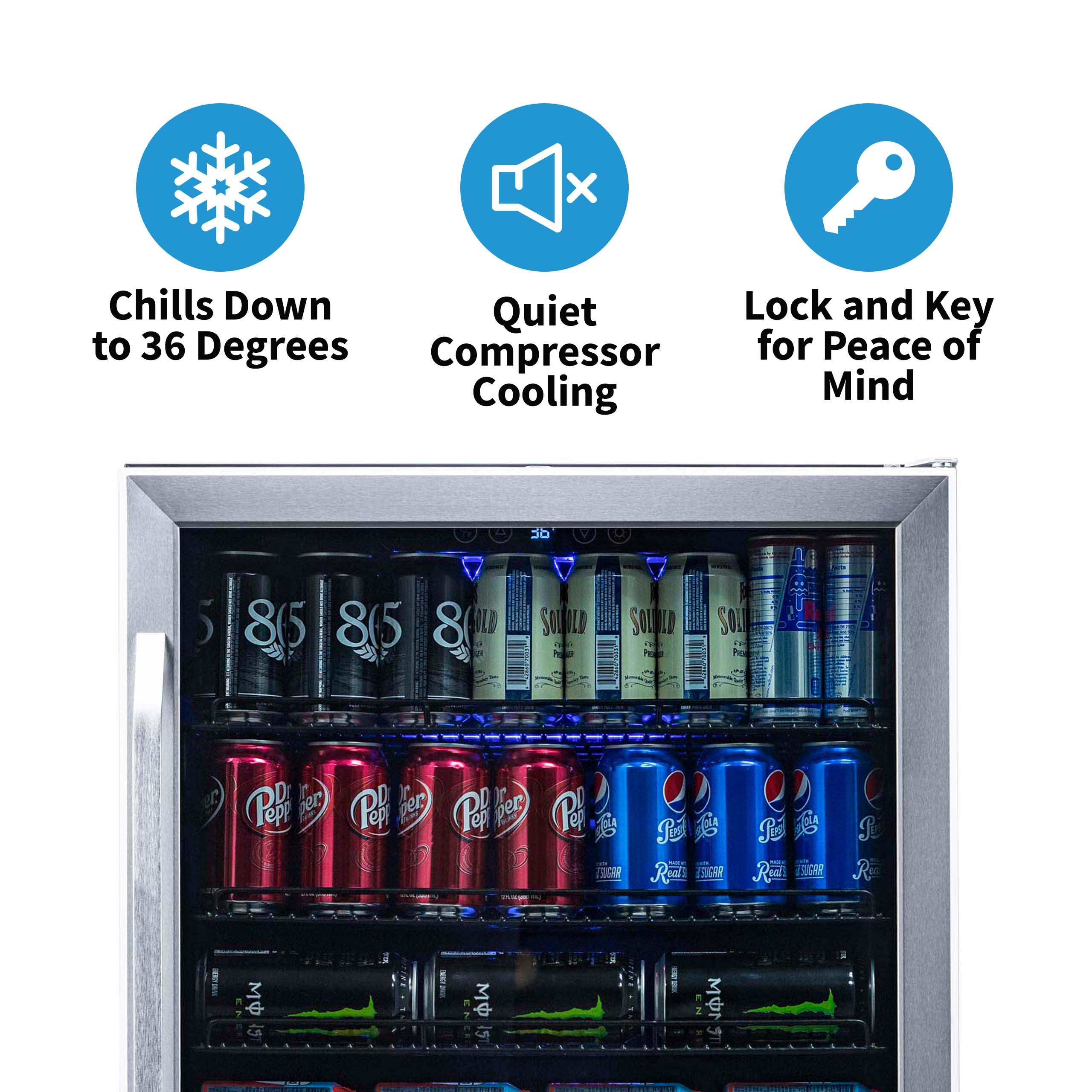 NewAir Built-In Beverage Cooler and Refrigerator, Stainless Steel Mini Fridge with Glass Door,  177 Can Capacity, ABR-1770 by NewAir (Image #4)