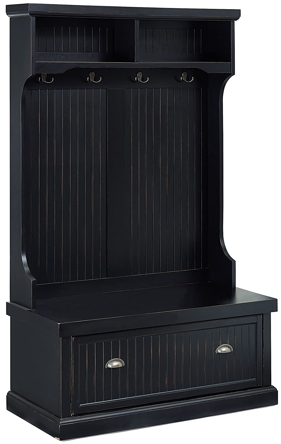 Crosley Furniture Seaside Hall Tree - Distressed Black