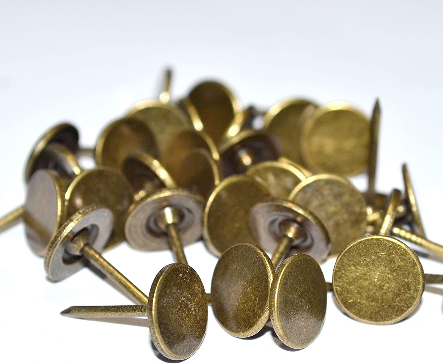 100 Pieces Upholstery Nails Tacks Push Pins Round Flat Head Bronze Vintage Thumb Tack for Furniture Decoration (Head Diameter:7/16
