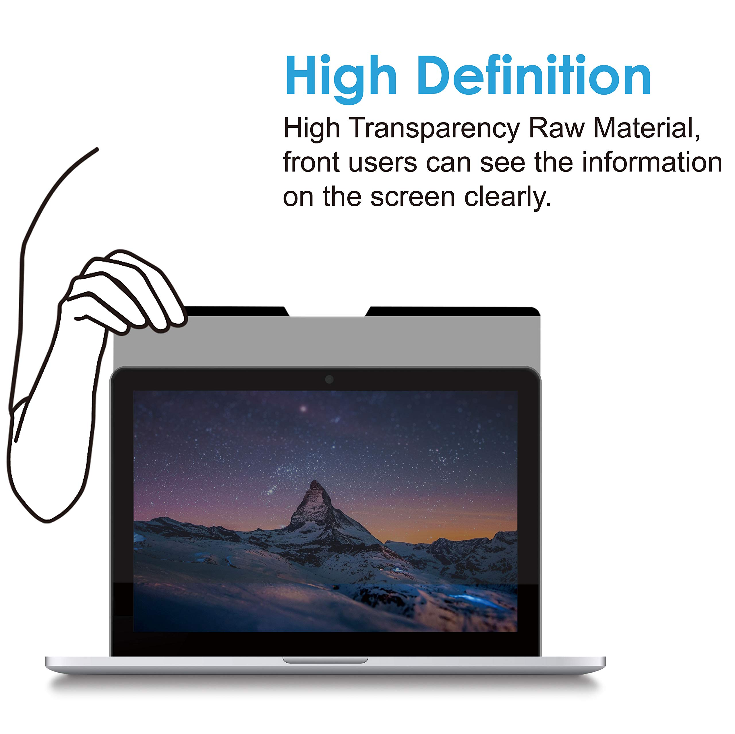 KAEMPFER Easy On/Off Magnetic Privacy Filter, No -Blue Light, Korea LG Filter High Definition, Screen Protector for Apple MacBook pro 15'' Touch Bar/No n-Touch Bar (Mid 2016) Retina Display for Laptop by KAEMPFER (Image #3)