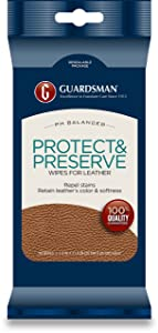 Guardsman Protect & Preserve Wipes For Leather 20 Wipes - Repels Stains, Retains Color and Softness, Great for Leather Furniture & Car Interiors - 470600