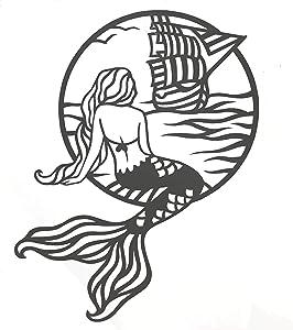 Custom Mermaid In The Sea Vinyl Decal - Beach Bumper Sticker, for Tumblers, Laptops, Car Windows - Mermaid Tail Ocean Sailboat Design