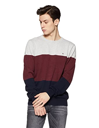 e0cbfb8e TOMMY HILFIGER Men's Cotton Sweater (8907504780839_A7BMS102_X-Large_Lt Grey  HTR Bc03/Zinfandel HTR B0465