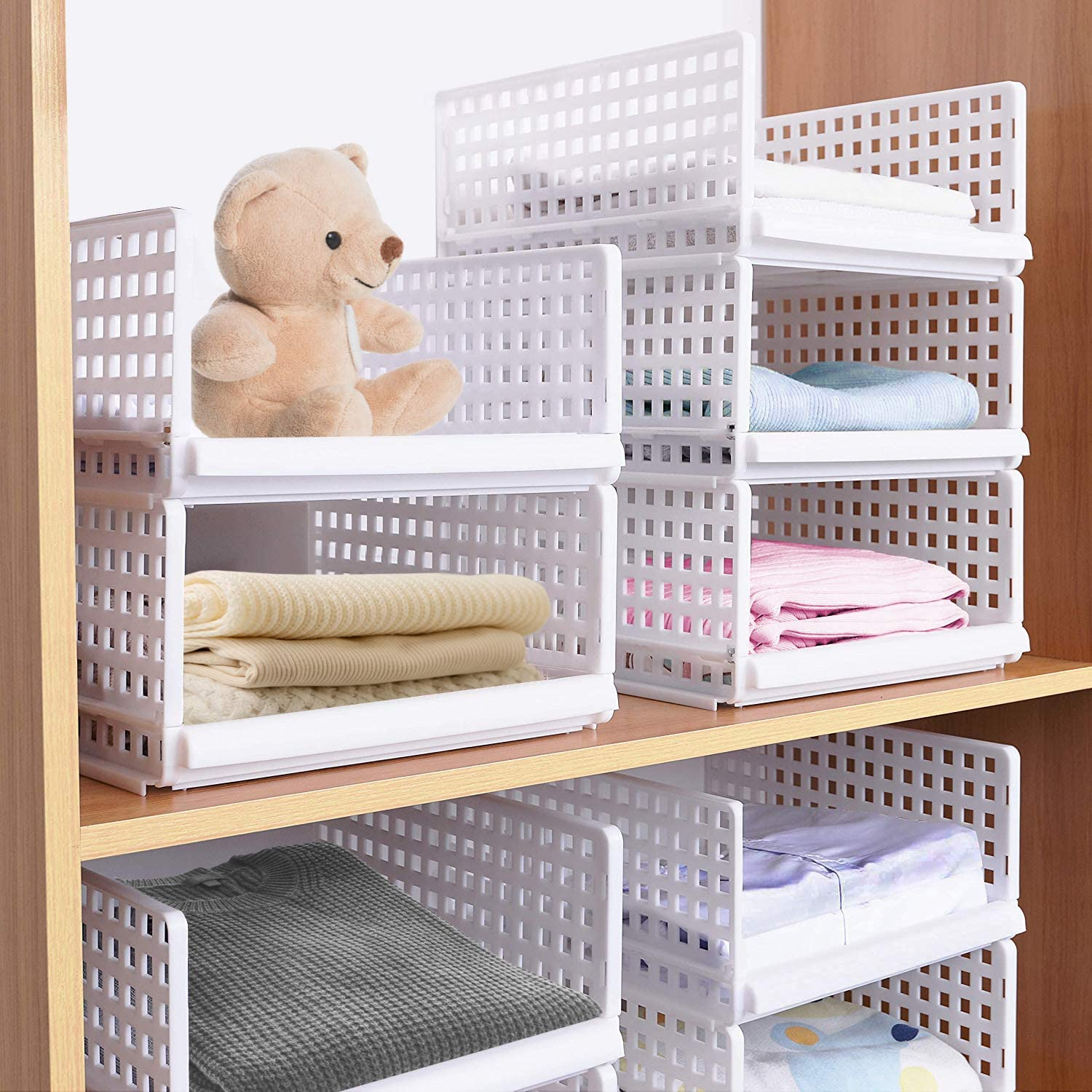Set of 4 Stackable Wardrobe Storage Box Organizer, Plastic White Wardrobe Shelves Closet Organiser Box, Pull Out Like a Drawer, Suitable for Home, Bedroom, Kitchen